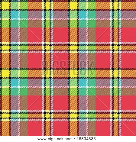 Summer colors check fabric texture seamless pattern. Vector illustration.