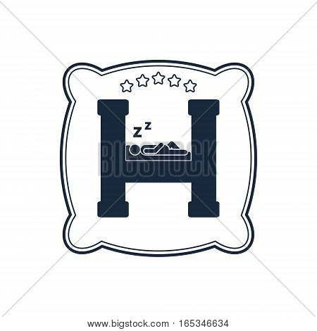 Hotel logo. Housing rent or hotel sign with sleeping men on the h letter on the pillow background. Vector isolated illustration.