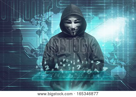 Hacker In Mask Typing Keyboard Hacking Binary Data