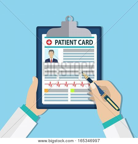 Clipboard in doctors hand. Make notes in patient card. medical report. analysis or prescription concept. vector illustration in flat style