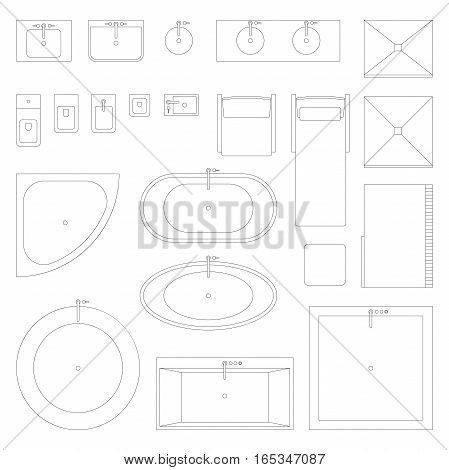 Furniture and interior elements line symbols for bathroom. Set of interior icons in top view.