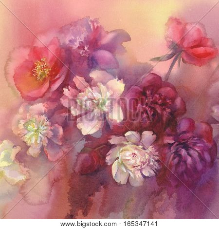 Bouquet of white and violet peonies watercolor illiustration. Wedding card. Summer bloom. Color flowers background.