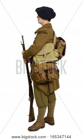French Mountain Infantry soldier during the Second World War on a white background side view
