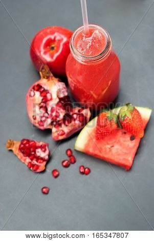 Smoothie Fruits Water Melon Pomegranate Strawberry