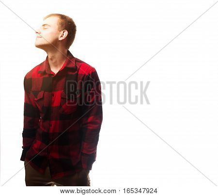 the guy, hipster in the black t-shirt,plaid red shirt  blank, smiling on a white background, mock up