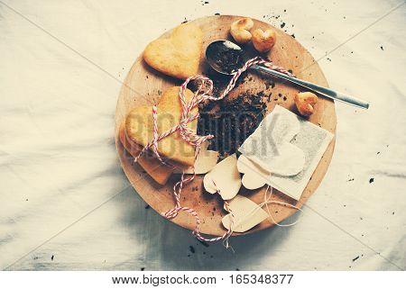 Tea Bag And Cookies Are Handmade. Vintage Style