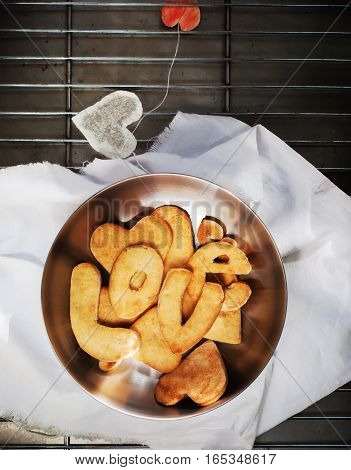 Cookies In Form Of Hearts With Handmade Tea Bag