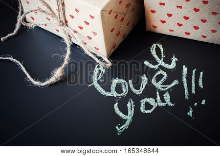 Message I Love You And Boxes In Hand Made Paper