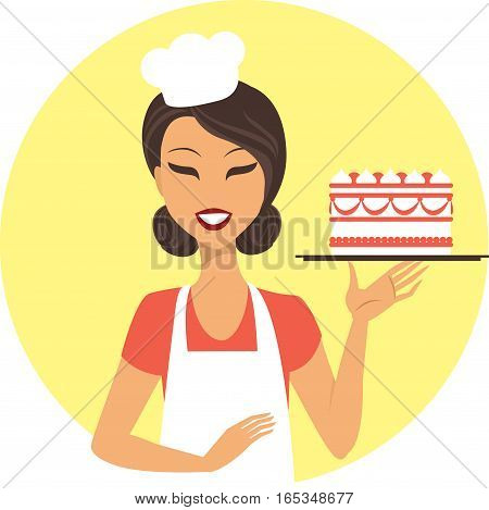 Young girl confectioner holding tray with birthday cake