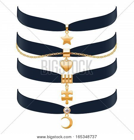 Beautiful choker necklaces set vector illustration. Jewelry with gold pendants and chain. Vector illustration. Good for beauty fashion jewel shop design.