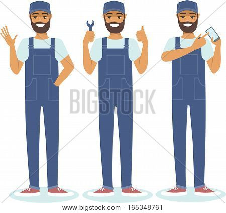 Young confident handyman character set vector illustration
