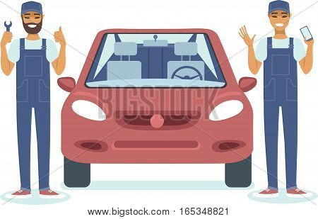 mechanic character standing next to red car flat vector