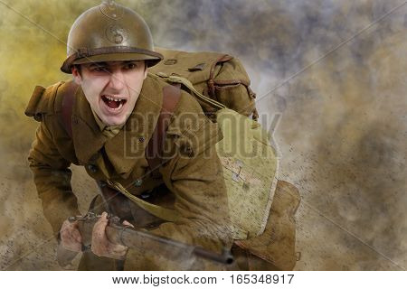 young French soldier in 1940's uniform attacking