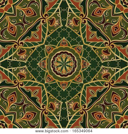 Ethnic green ornament of mandalas. Template for carpet textile shawl. Vector oriental seamless pattern.