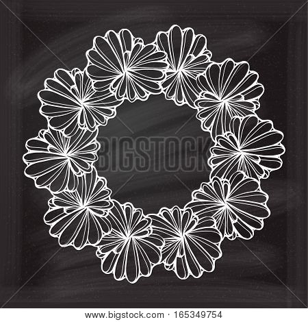 Floral frame on the chalk background for your design.