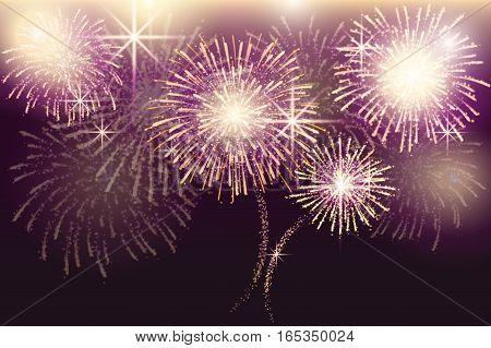 A set of isolated vector fireworks on a transparent background.