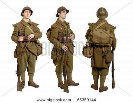 the French soldier in 1940's uniform viewed from the front side and back