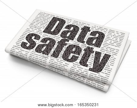 Information concept: Pixelated black text Data Safety on Newspaper background, 3D rendering