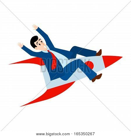Success in business icon. Start up. Businessman is flying on the rocket up