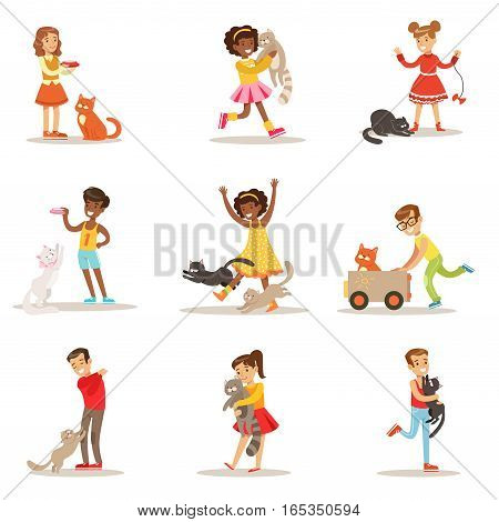 Children And Cats Illustrations Set With Kids Playing And Taking Care Of Pet Animals. Happy Boys And Girls Cartoon Characters With Domesticated Animals Collection Of Drawings.
