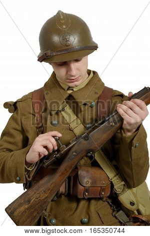 French soldier in 1940's uniform isolated on white background