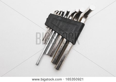 Hexagon steel screwdriver on the white background