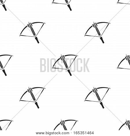 Crossbow icon in black style isolated on white background. Weapon pattern vector illustration.