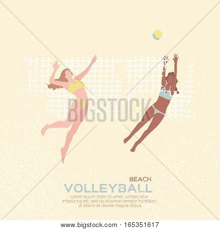 Beach Volleyball is popular sport game. Funny young team women with ball and net. Championship Volleyball net. Vector Illustration