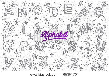 Hand drawn set of Alphabet doodles with lettering in vector