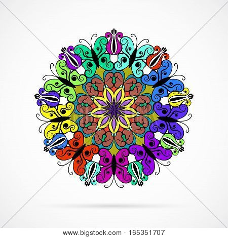 Vector Bright Color Flower Mandala Over White Background Element For Your Designs Invitation