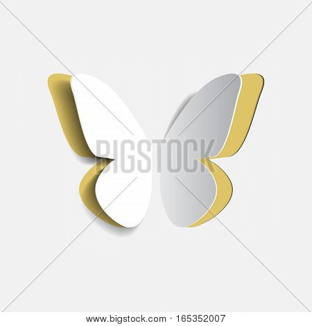 Vector illustration of paper origami yellow buttrfly