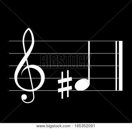 Sharp musical symbol with note treble clef and staff on black