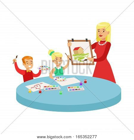 Two Children In Art Class Drawing Cartoon Illustration With Elementary School Kids And Their Teacher In Creativity Lesson. Happy Schoolkids Painting With Demonstration From Adult Woman.