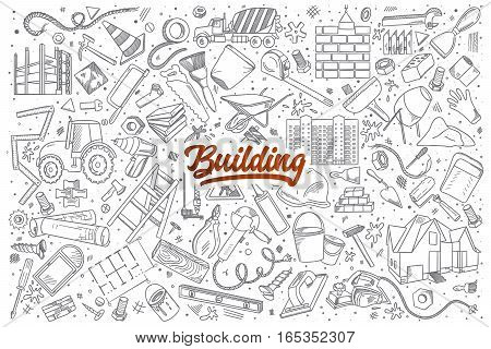 Hand drawn set of Building doodles with red lettering in vector