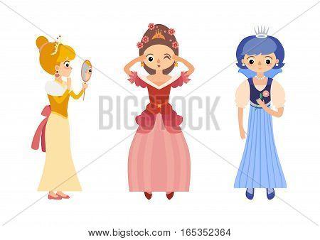 Set of fairytale princess in medieval dress