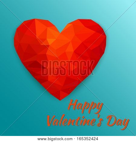 Polygonal heart. Card Happy Valentine's Day. Low poly design on blue background with shadow. Abstract red shape. Vector illustration.