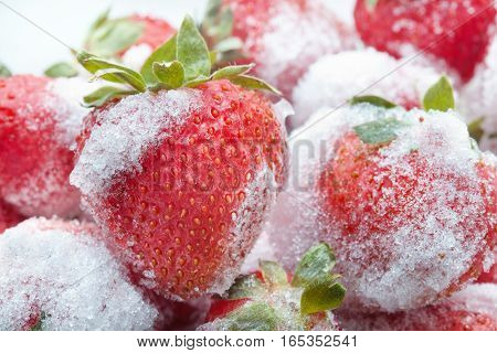 Frozen berries. sweet soft red strawberry fruits with a seed-studded surface. Macro view, detailed seeds, achene and ice.