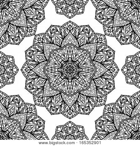 Oriental seamless pattern of mandalas. Filigree black and white background. Template for textile carpet wallpaper shawl.