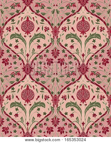 Pink floral pattern with pomegranate. Seamless filigree ornament. Stylized template for wallpaper textile linen shawl tile carpet and any surface.