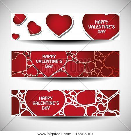 Vector set of tree Valentine's Day header design