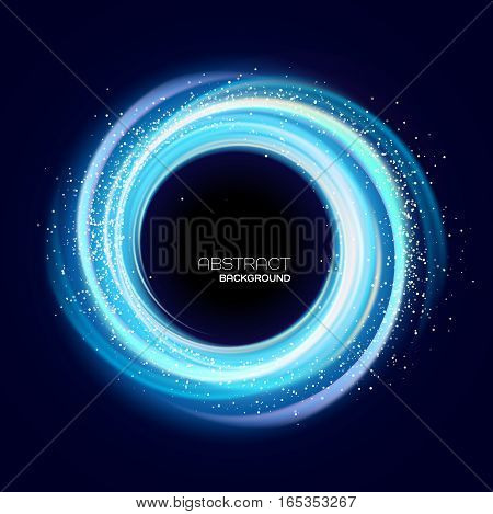 Abstract background with blue luminous swirling backdrop. Glowing spiral. Vector