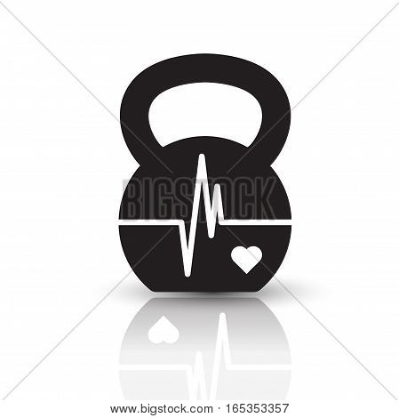 Vector kettlebell icon with shape of EKG (heartbeat diagram). Black pictogram with reflection on the white background.
