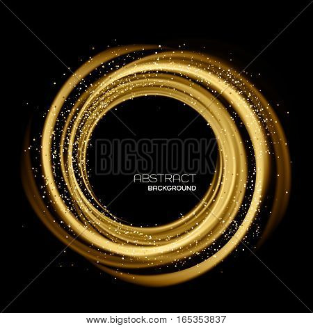 Abstract background with gold luminous swirling backdrop. Glowing spiral. Vector