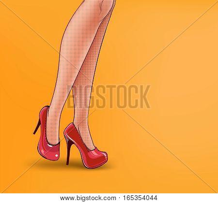 pop art illustration of female legs, shod in high-heeled shoes