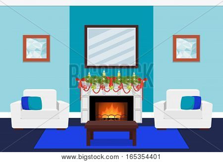 Living room interior with tree branch on fireplace. Christmas design. Vector in flat style including furniture. Xmas background.