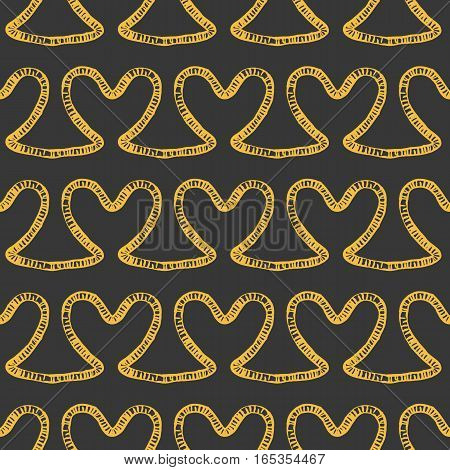 Romantic seamless pattern. Endless ornament with yellow doodle hearts on gray backdrop. Valentines day or wedding background for fabric, wrapping, packaging paper