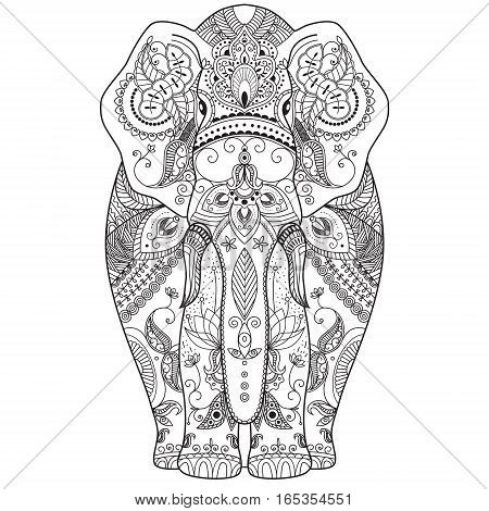 illustration of an elephant with ethnic patterns. Use for print, t-shirts.