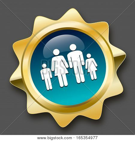 Family seal or icon with family symbol. Glossy golden seal or button.