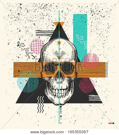 Human skull drawn in woodcut retro style and triangles, rectangles and circles of different colors and textures on background. Modern vector illustration in 1990s style for flyer, print, postcard.