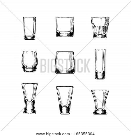 Set of illustration of stemware. Glasses for alcohol